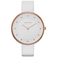 Buy Skagen SKW2291 Women's Gitte Leather Strap Watch, White Online at johnlewis.com