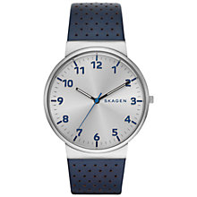 Buy Skagen SKW6162 Men's Ancher Leather Watch, Blue/Silver Online at johnlewis.com