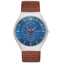 Buy Skagen SKW6161 Men's Grenen Leather Watch, Brown/Blue Online at johnlewis.com
