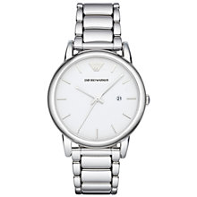 Buy Emporio Armani Ar1854 Men's Luigi Stainless Steel Watch, White Online at johnlewis.com
