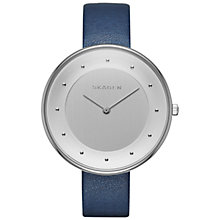 Buy Skagen SKW2315 Women's Gitte Leather Strap Watch, Dark Blue/Silver Online at johnlewis.com