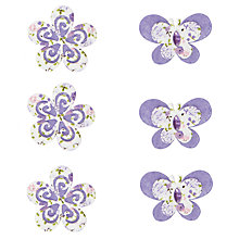 Buy John Lewis Fabric Flowers & Butterflies Card Toppers, Pack of 6, White/Purple Online at johnlewis.com