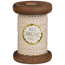 Buy The Makery Cream Crocheted Lace on Wooden Spool, 3m, Cream Online at johnlewis.com
