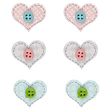 Buy John Lewis Heart Shaped Button Card Toppers, Pack of 6, Multi Online at johnlewis.com