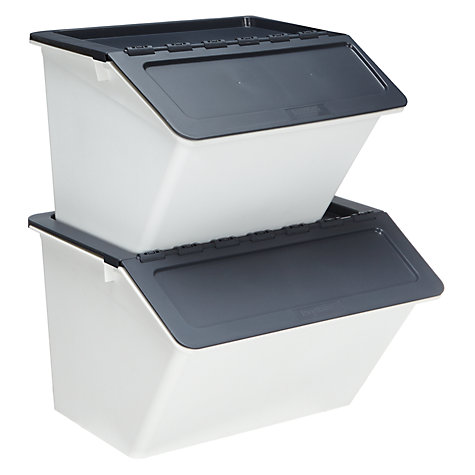buy john lewis plastic stackable storage recycling box. Black Bedroom Furniture Sets. Home Design Ideas