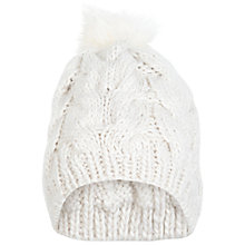 Buy Miss Selfridge Fur Pom Beanie, Cream Online at johnlewis.com
