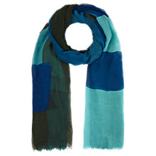 Buy Jigsaw Colour Block Scarf, Turquoise Online at johnlewis.com