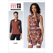 Buy Vogue Today's Fit Women's Top and Dress Sewing Pattern, 1429 Online at johnlewis.com