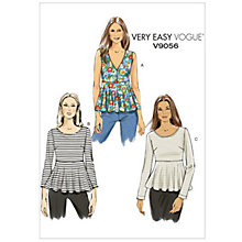 Buy Vogue Very Easy Women's Top Sewing Pattern, 9056 Online at johnlewis.com