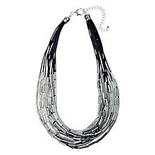 Buy Adele Marie Silver Beads Black Cord Necklace, Silver/Black Online at johnlewis.com