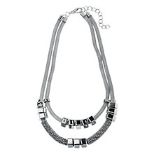 Buy Adele Marie Mesh and Bead Multi Row Necklace, Silver Online at johnlewis.com