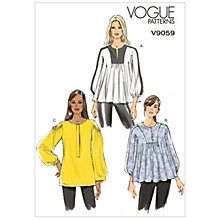 Buy Vogue Women's Top and Tunic Sewing Pattern, 9059 Online at johnlewis.com