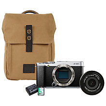 "Buy Fujifilm X-M1 Compact System Camera Starter Kit with 18mm Lens, Camera Bag, Additional Battery & 16GB Memory Card, HD 1080p, 16.3MP, Wi-Fi, 3"" LCD Screen, Silver Online at johnlewis.com"