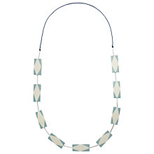 Buy One Button Rectangle Necklace, Blue/Cream Online at johnlewis.com