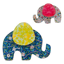 Buy One Button Resin Elephant Brooch Set, Blue Online at johnlewis.com