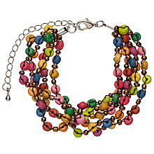 Buy One Button Wood Disc and Sequin Bracelet, Multi Online at johnlewis.com