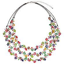 Buy One Button Glass/Bead/Wooden Flower Necklace, Multi Online at johnlewis.com