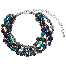Buy One Button Mini Wood Disc Bracelet, Navy Online at johnlewis.com