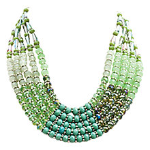 Buy One Button 5 Layer Glass Beads Necklace, Green Online at johnlewis.com