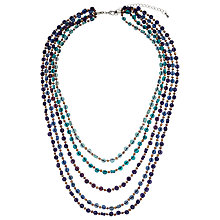 Buy One Button Mini Disc Beaded Necklace, Navy Online at johnlewis.com