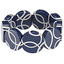 Buy One Button Flat Round Disc Bracelet, Navy Online at johnlewis.com