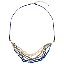 Buy One Button Small Resin Shell Layered Necklace, Cream/Taupe/Blue Online at johnlewis.com