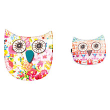 Buy One Button Owl Brooch Set, Pink Online at johnlewis.com