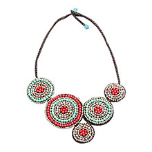 Buy One Button Stone Circle Disc Necklace, Red/Green Online at johnlewis.com