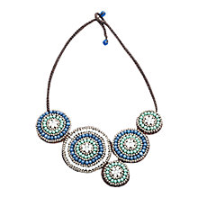 Buy One Button Stone Circle Disc Necklace, Blue/Cream Online at johnlewis.com