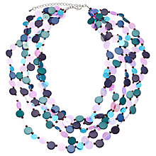 Buy One Button 5 Row Mini Disc Bead Necklace, Blue Online at johnlewis.com