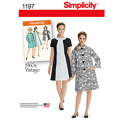 1960s Sewing Patterns- Dresses, Tops, Pants etc Simplicity 1960s Vintage Womens Dress and Coat Sewing Pattern 1197 £4.47 AT vintagedancer.com