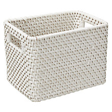 Buy John Lewis Croft Collection Rattan Storage Box, White, Small Online at johnlewis.com