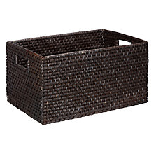 Buy John Lewis Rattan Storage Basket with Handles, Dark Brown Online at johnlewis.com