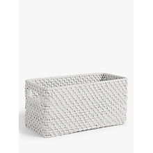 Buy John Lewis Croft Collection Rattan Storage Box, White, Medium Online at johnlewis.com
