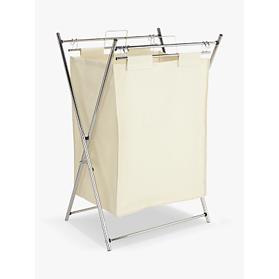 John Lewis The Basics Chrome Laundry Hamper, White