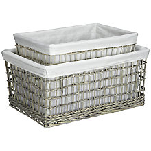 Buy John Lewis Willow Lined Baskets, Set of 2, Grey Online at johnlewis.com