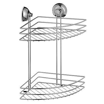 John Lewis 2 Tier Bathroom Suction Corner Basket