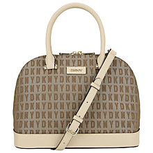 Buy DKNY HQ Print Bryant Leather Round Satchel Bag, Chino Online at johnlewis.com