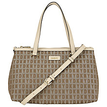 Buy DKNY HQ Print Bryant Zip Leather Shopper Bag, Chino Online at johnlewis.com