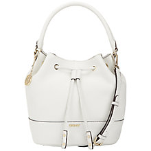 Buy DKNY Tribeca Leather Bucket Bag, Cream Online at johnlewis.com