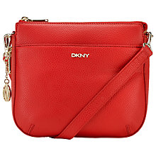 Buy DKNY Tribeca Leather Small Across Body Satchel Bag, Red Online at johnlewis.com