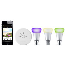 Buy Philips Hue 9W B22 (BC) LED Connected Bulb Starter Kit, Multi Online at johnlewis.com