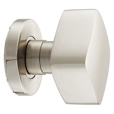John Lewis Concealed Square Mortice Knobs, Satin Nickel, Pair, Dia.55mm