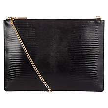 Buy Whistles Rivington Lizard Chain Clutch Bag, Black Online at johnlewis.com