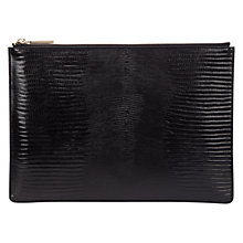 Buy Whistles Medium Lizard Clutch Bag, Black Online at johnlewis.com