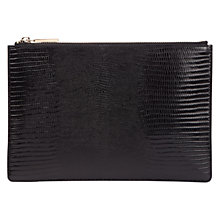 Buy Whistles Small Lizard Clutch Bag, Black Online at johnlewis.com