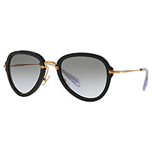 Buy Miu Miu MU 03QS 1AB3H0 Aviator Sunglasses, Black Online at johnlewis.com