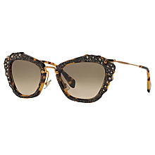 Buy Miu Miu MU 04QS 7S03D0 Cat's Eye Sunglasses, Havana Online at johnlewis.com