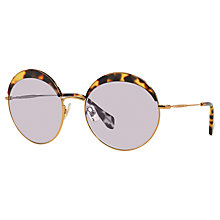 Buy Miu Miu MU 51QS 7S03F2 Round Metal Frame Sunglasses, Light Havana Online at johnlewis.com
