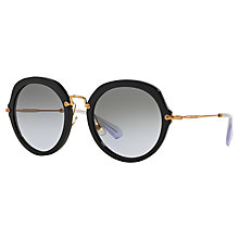 Buy MiuMiu MU 05QS 1AB3HO Round Gradient Lens Sunglasses, Black Online at johnlewis.com